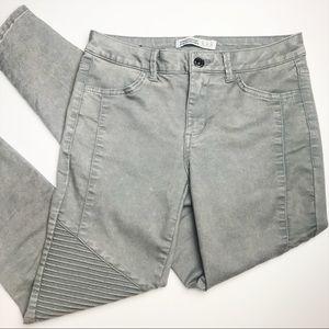 ZARA Grey Moto Zipper Skinny Jean 4
